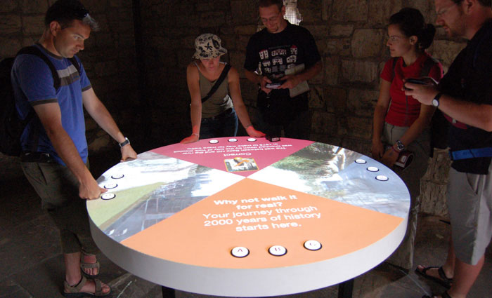 A multiplayer projection in a tower on the walls of York.